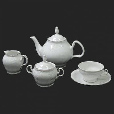 Čajová súprava pre 6 osôb Berna damašek platinový pruh