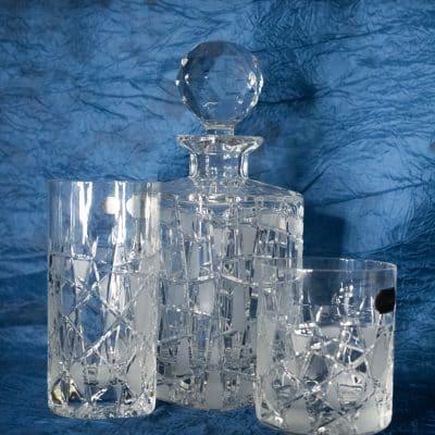 Set krištáľová brúsená whisky flaša 1 + 6 pohárov
