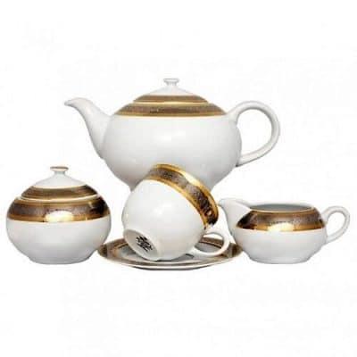 Čajová súprava pre 6 osôb Opalnea zlatá s platinou