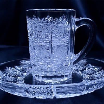 Krištálová brúsená šálka na kávu 75 ml