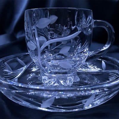 Krištálová brúsená šálka na kávu alebo čaj 150 ml