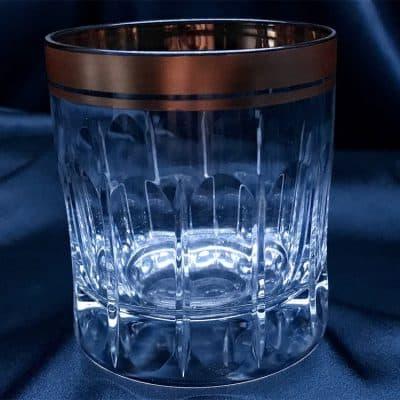 Krištálové brúsené poháre 250 ml set 6 kusov ručná maľba zlatom