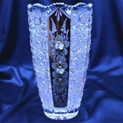Krištáľová brúsená váza 21 cm ručná maľba
