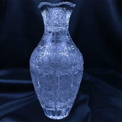 Krištáľová brúsená váza 20 cm