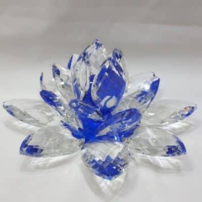 Krištálový brúsený lotosový kvet modrý 20 cm